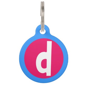 Graphic Lowercase Letter D Custom Initial Pet ID Tag