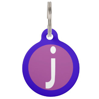 Graphic Lowercase Letter J Custom Initial Pet ID Tag