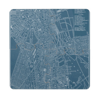 Graphic Map of Boston Drink Coaster Puzzle