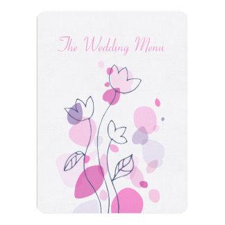 "Graphic modern flower petals wedding dinner menu 6.5"" x 8.75"" invitation card"
