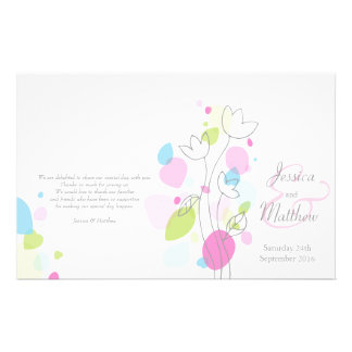 Graphic modern flower petals Wedding Programme Flyer