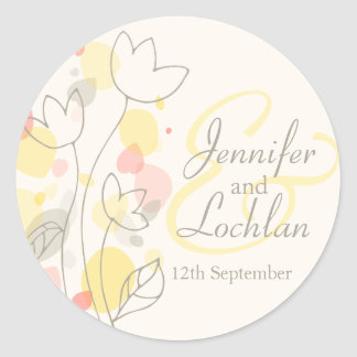 Graphic modern flower petals wedding sticker