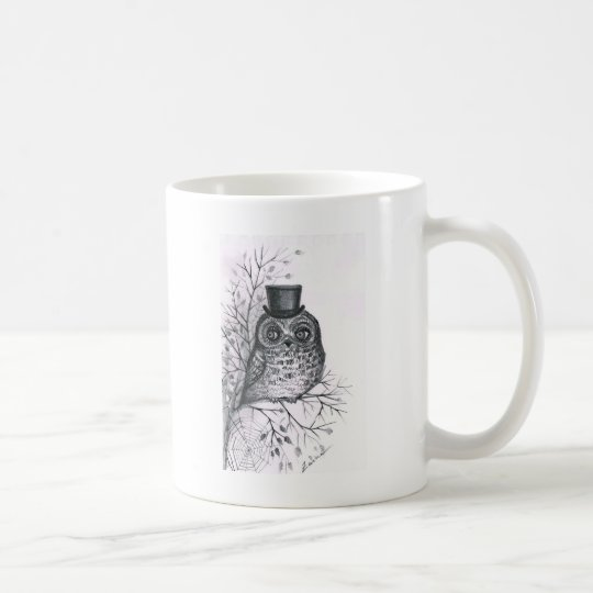 Graphic owl coffee mug