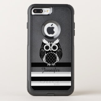 Graphic owl illustration on striped background OtterBox commuter iPhone 8 plus/7 plus case