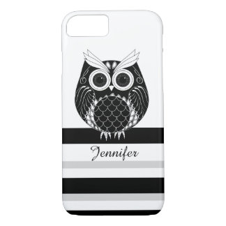 Graphic owl on striped background iPhone 8/7 case