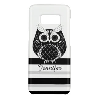 Graphic owl on striped background with name Case-Mate samsung galaxy s8 case