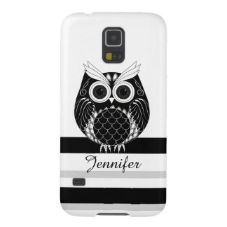 Graphic owl on striped background with name galaxy s5 case