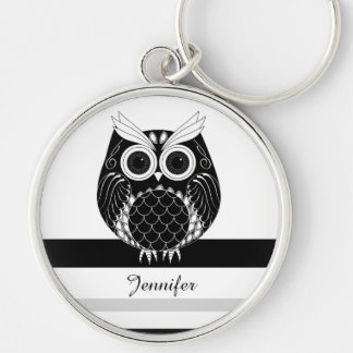 Graphic owl on striped background with name Silver-Colored round keychain