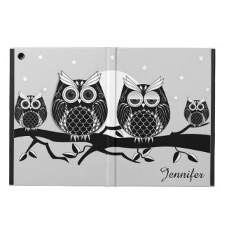 Graphic owla on striped background with name cover for iPad air