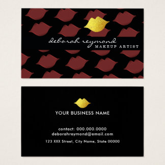 graphic pattern of lips beauty makeup business card