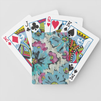 Graphic Pink and Blue Floral Bicycle Playing Cards