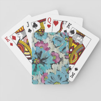 Graphic Pink and Blue Floral Playing Cards