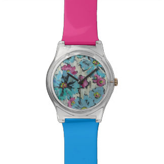 Graphic Pink and Blue Floral Watches