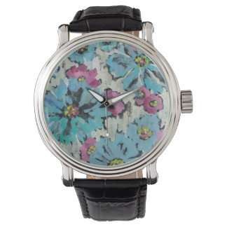 Graphic Pink and Blue Floral Wristwatch
