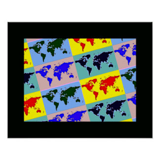 graphic pop art world map poster