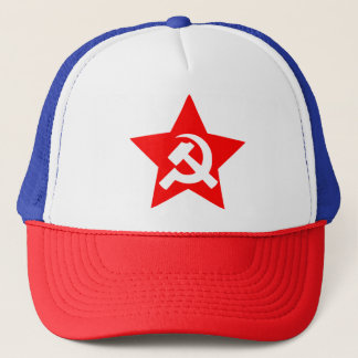 GRAPHIC RED STAR WITH HAMMER AND SICLE TRUCKER HAT