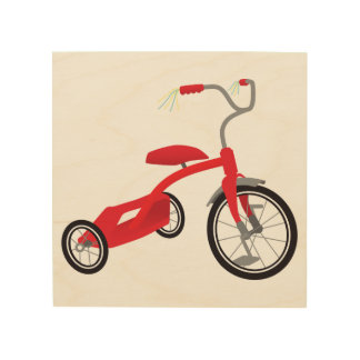Graphic Red Tricycle Wood Wall Art