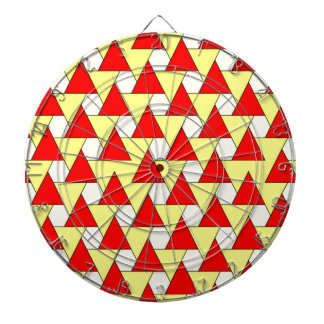 graphic red yellow pattern dartboard with darts