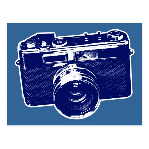 Graphic Retro Camera Design in Blue Postcards