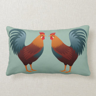 Graphic Roosters Lumbar Pillow