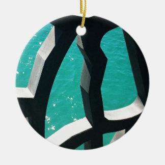 Graphic Round Ceramic Ornament