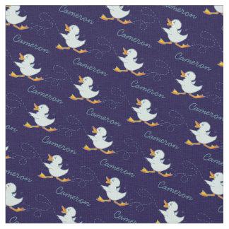 Graphic running duck name art blue pattern fabric