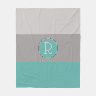Graphic Seaglass and Taupe Monogrammed Fleece Blanket