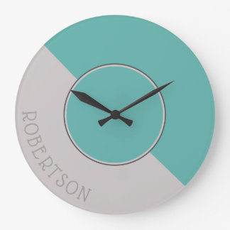 Graphic Seaglass and Taupe Personalized Large Clock