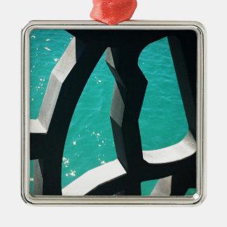 Graphic Silver-Colored Square Ornament