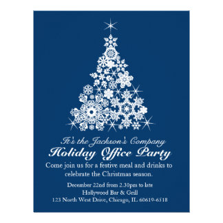 Graphic snowflake tree navy office party flyer personalized letterhead