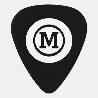 graphic solid black white circle monogram guitar pick