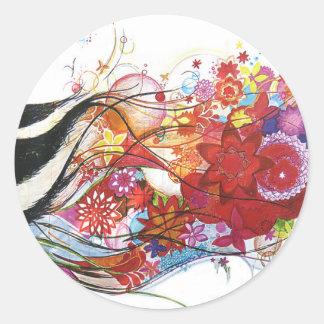 Graphic Sparrow Classic Round Sticker