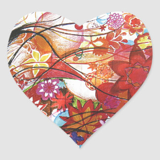 Graphic Sparrow Heart Sticker
