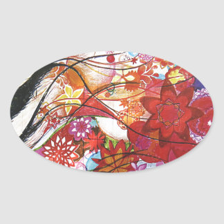 Graphic Sparrow Oval Sticker