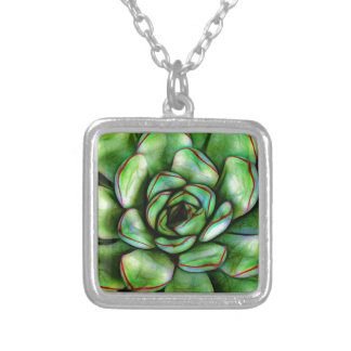 Graphic Succulent Silver Plated Necklace