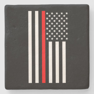Graphic Thin Red Line Display US Flag on a Stone Beverage Coaster