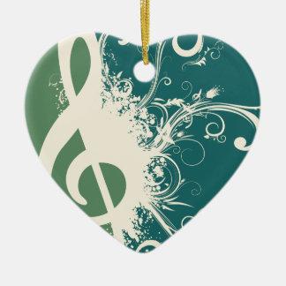 Graphic Treble Clef Ceramic Ornament