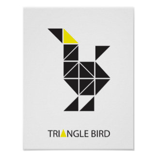GRAPHIC TRIANGLE BIRD POSTER