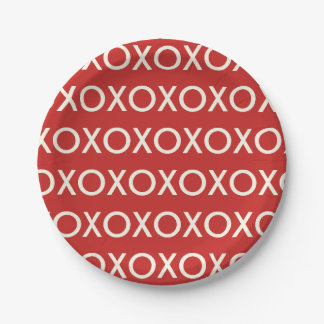 GRAPHIC VALENTINE'S DAY XOXO RED PAPER PLATE