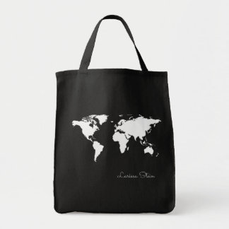 graphic white map of world on black with name