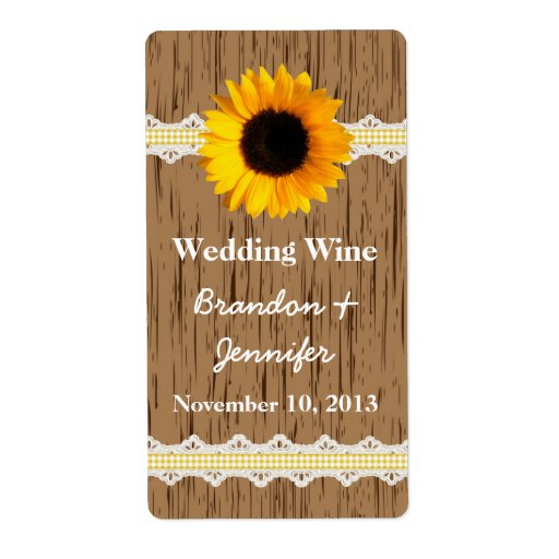 Graphic Wood Grain & Sunflower Mini Wine Labels