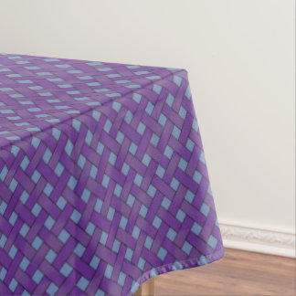 Graphical Woven Purple Rattan on Custom Blue Tablecloth