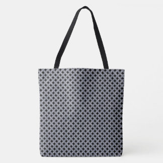 Graphical Woven Rattan Silver on Custom Black Tote Bag