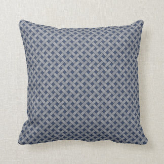 Graphical Woven Rattan Silver on Custom Blue Throw Pillow
