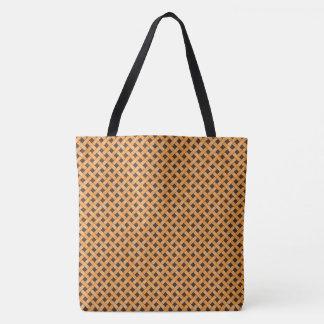 Graphical Woven Rattan Yellow on Custom Brown Tote Bag