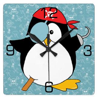 Graphique de pingouin de pirate horloge carrée