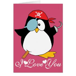 Graphique de pingouin de pirate je t'aime carte de vœux