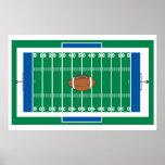 graphique de terrain de football de fer de grille poster