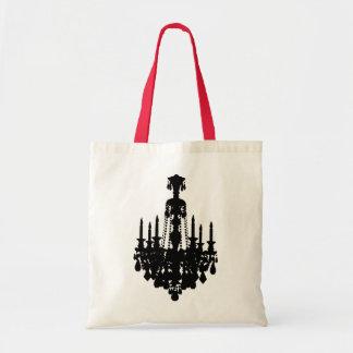 Graphique vintage noir et blanc de lustre sac en toile budget