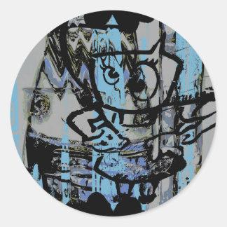 Graphiques bleus fous de graffiti sur la feuille adhésif rond